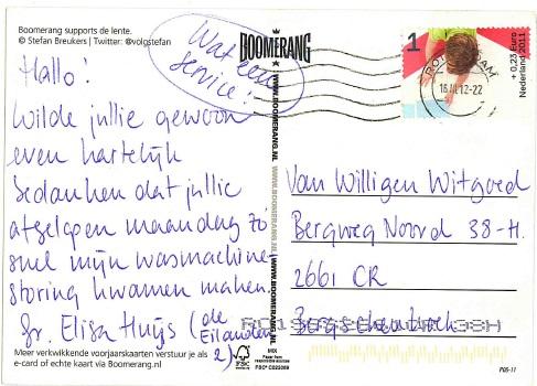 Bedank kaart klant Van Willigen Witgoed